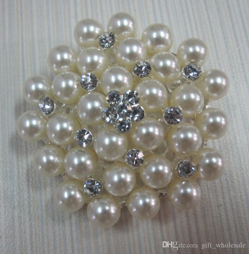 2 Inch/4.6cm Silver Tone Cream and White Pearl and Rhinestone Crystal Brooch for choices