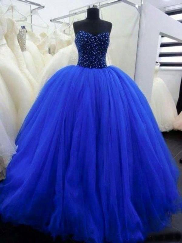 Oszałamiające Royal Blue Quinceanera Suknie Zroszony Gorset Najwyższej Piętra Długość Długość Tull Balowa Suknie Prom Suknie Lace-UP Powrót Custom Made Plus Size