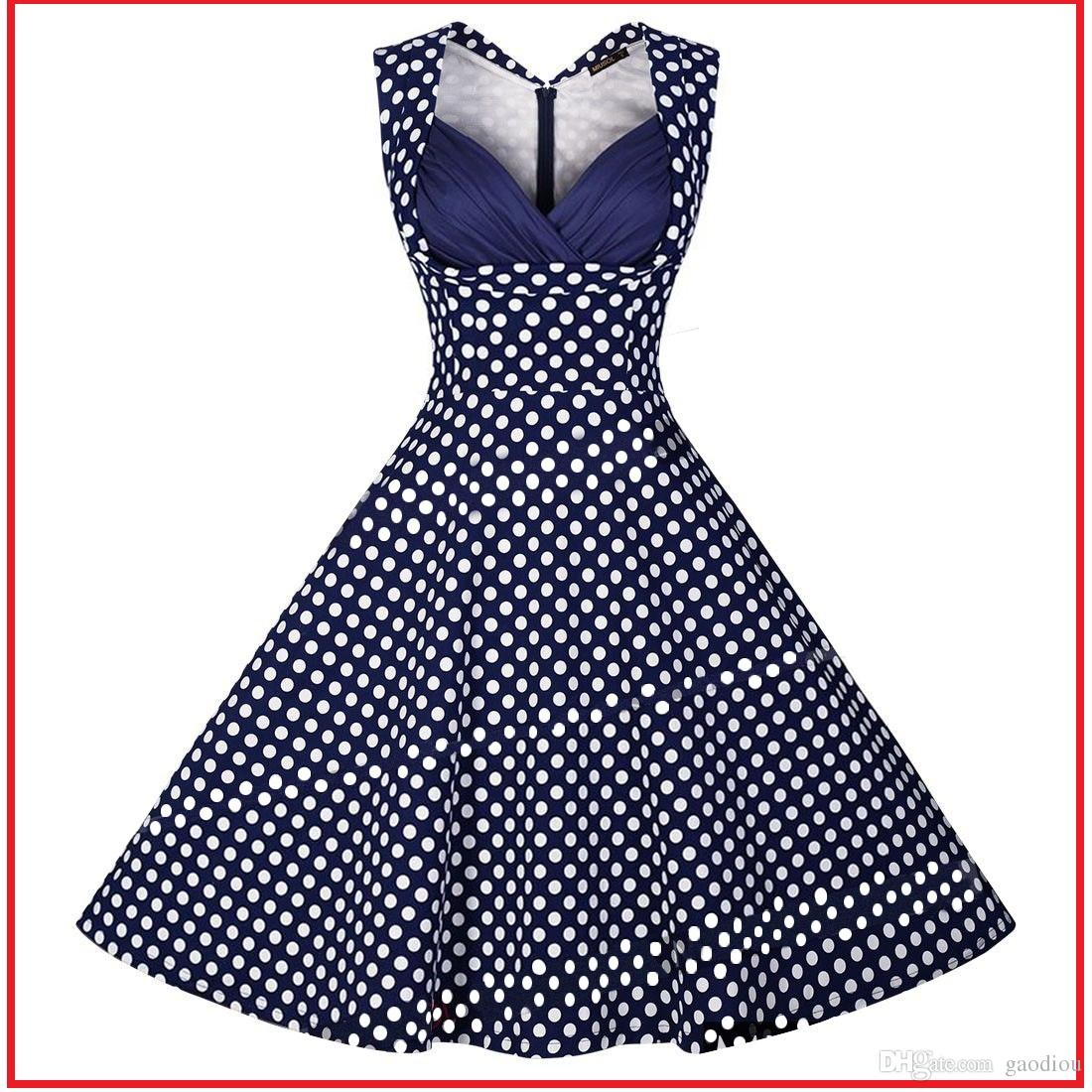 ef3cd2b19072 Vintage 1950 S Navy   Blue With White Polka Dot Printing Spring Garden  Party Picnic Dress Swing Dress Bust Drape Pleats Rockabilly Dress Green  Dresses Cheap ...