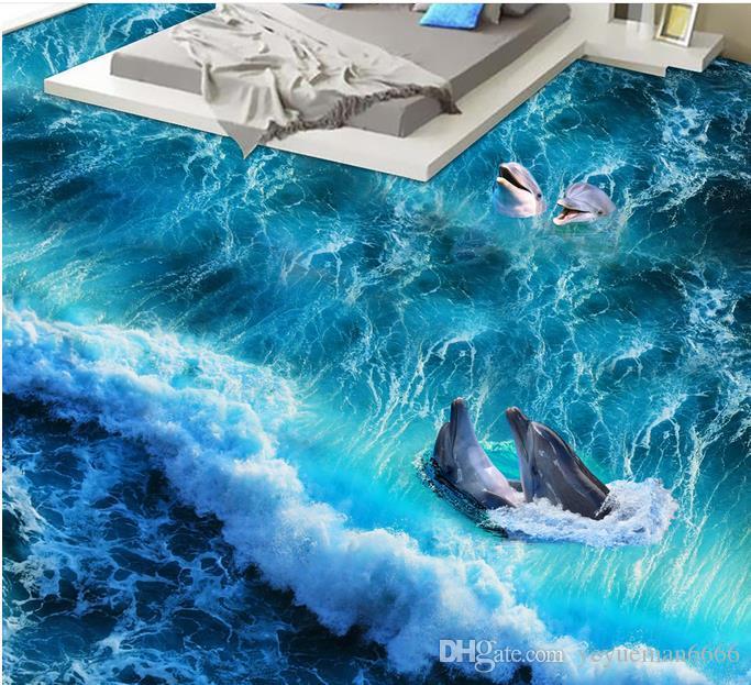 Custom 3d flooring dolphin bedroom wallpaper 3d floor pvc water self-adhesive 3d landscape wallpaper