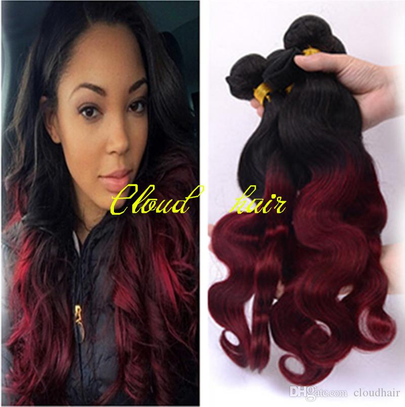 Cheap grade 8a ombre brazilian body wave hair weave bundles virgin cheap grade 8a ombre brazilian body wave hair weave bundles virgin remy human hair extensions wefts two toned 1b99j burgundy wine red tangle free good pmusecretfo Image collections