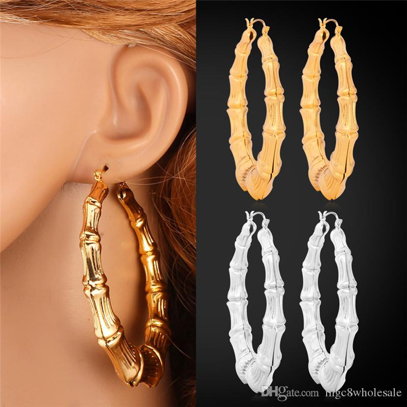 U7 Big Bamboo Hoop Earrings Gold/Platinum Plated Fashion Jewelry Trendy Basketball Wives Circle Round Earrings For Women Perfect Gifts E664