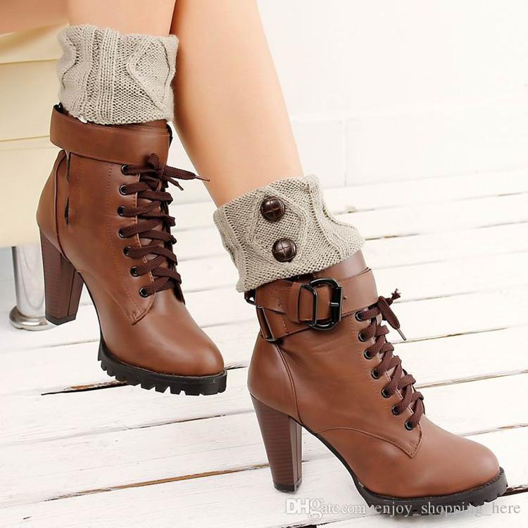 Stiefel Topper Winter Warme Frauen Gestrickte Socken Beinwärmer Button Häkelarbeitknit Boot Socken Manschetten Schönheit Dekore Sockenwärmer Weihnachtsgeschenk