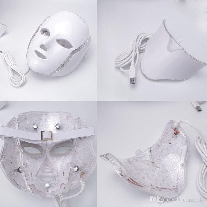 7 cores PDT LED de luz de face Terapia pescoço máscara anti-envelhecimento do dispositivo de rejuvenescimento Terapia Rugas tratamento massageador Relaxamento