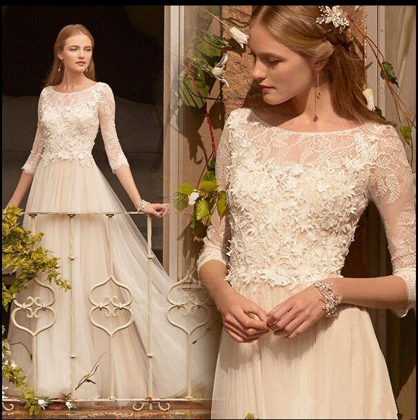 Cheap 3 4 Sleeve Wedding Dresses: Discount 3/4 Long Sleeve Romantic Wedding Dresses 2017
