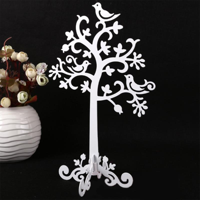 Shellhard Birds Tree Jewelry Stand Display Fashion White Black Metal Earring Necklace Ring Holder Organizer Jewelry Show Tower