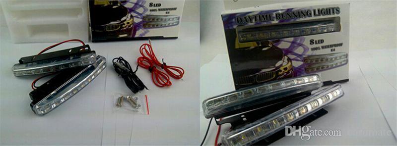 Venda quente 8 LED Universal Car Light Drl Daytime Correndo Cabeça Lâmpada Super Branco 2 Pçs / lote Frete Grátis