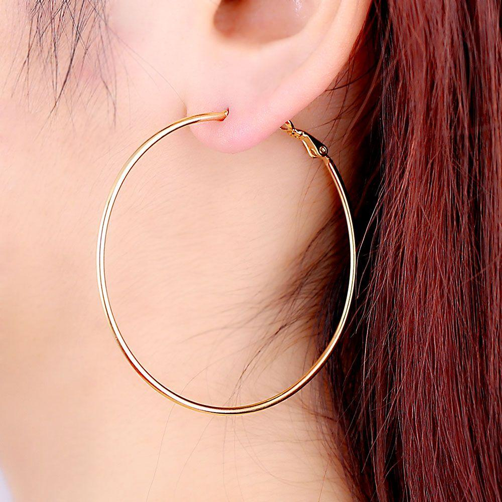 Best Quality Simple Designed Fashion 18k Gold Plated Big Hoop ...