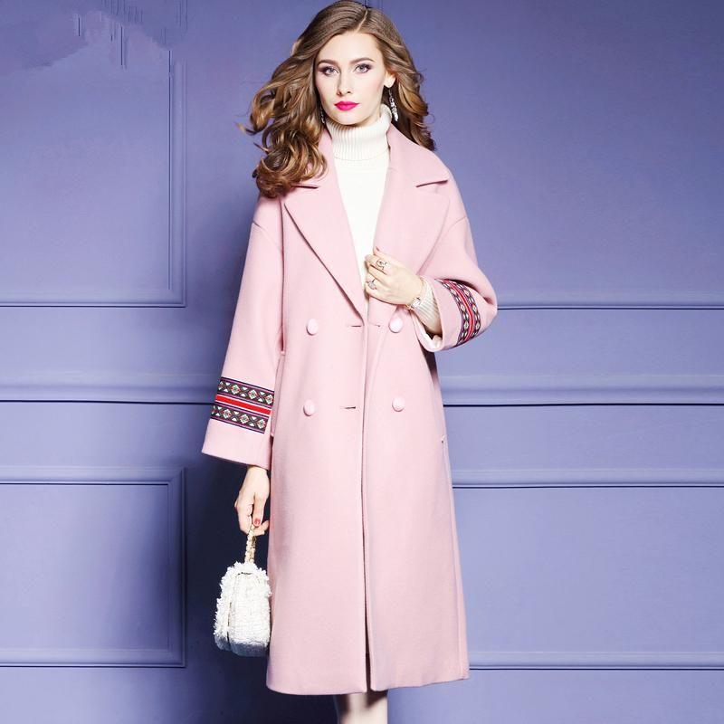 Best 2018 Women Trench Coat Women Pink Wool Slim Long Coats Female Plus  AL08