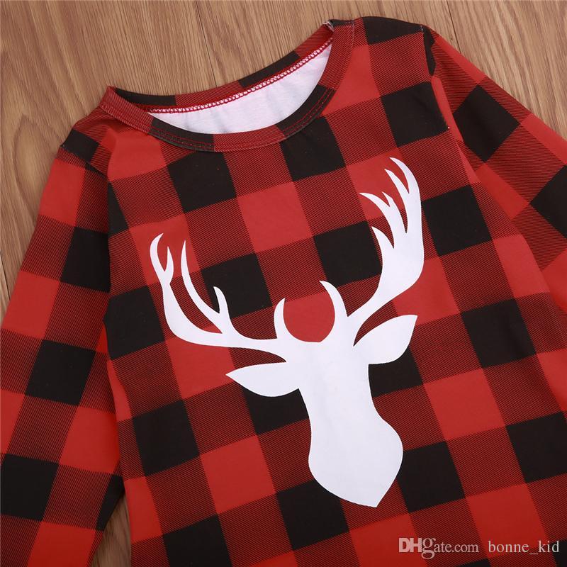 Christmas Kid Girls Dress Red Plaid Deer Ruffle Princess dresses Long Sleeve Kid Toddler Clothing NEW Xmas Checked Clothes 1-6T