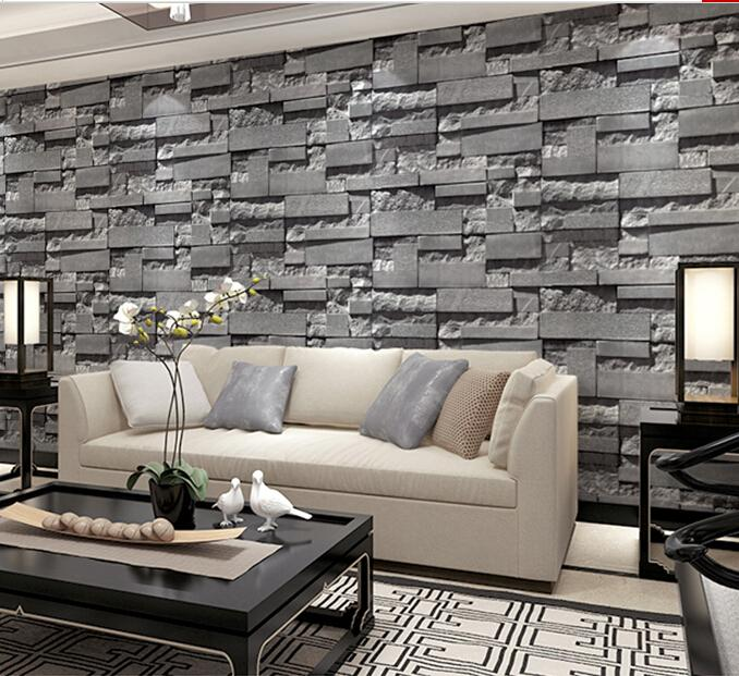 Tv Background Wall Wallpaper Wall Brick Imitation Pattern Of Modern