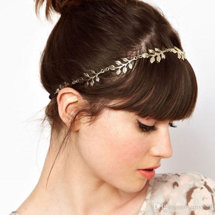 wholesale NEW fashion hot style hair band lady gold Olive leaf headband head piece chain leaves golden elastic band head band