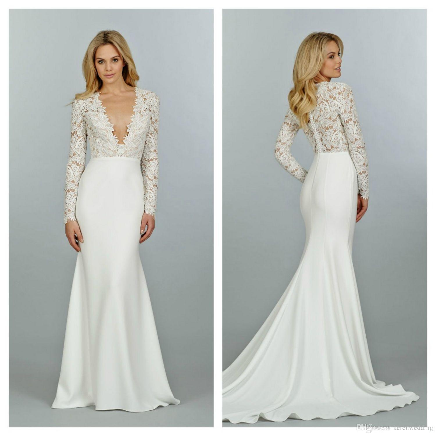Gorgeous Fall Beach Bridal Gowns With Sleeves Lace Top Deep V