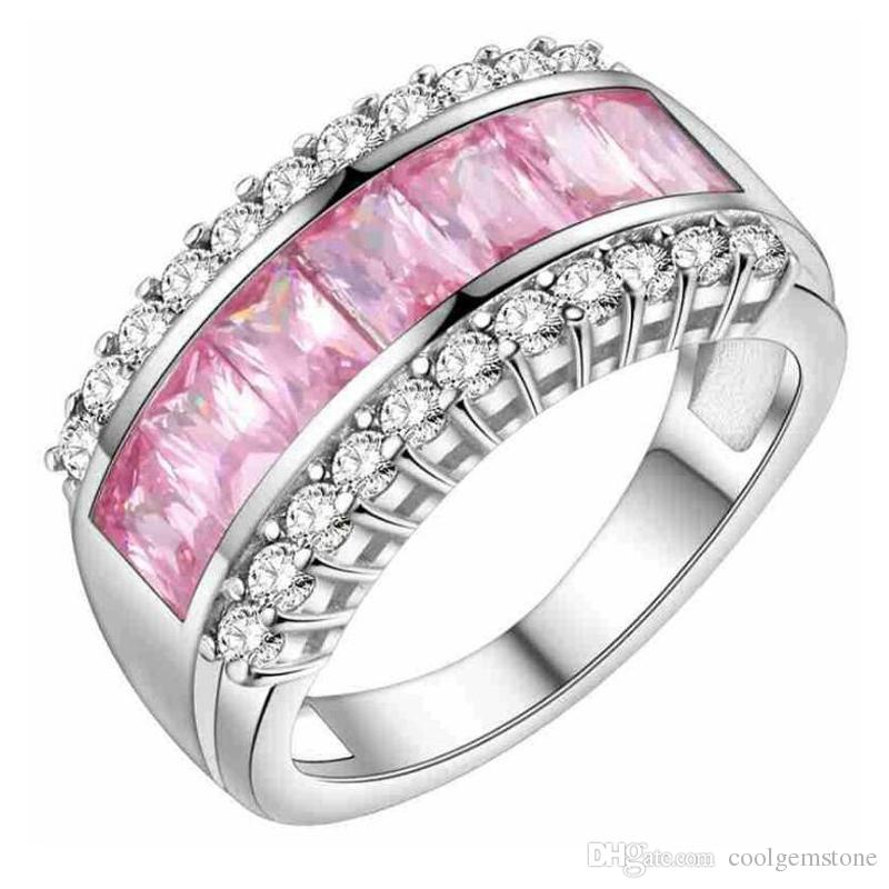 New Bridal Jewelry Wedding Rings Fire Pink Cubic Zirconia 925 Sterling Silver Ring Mix