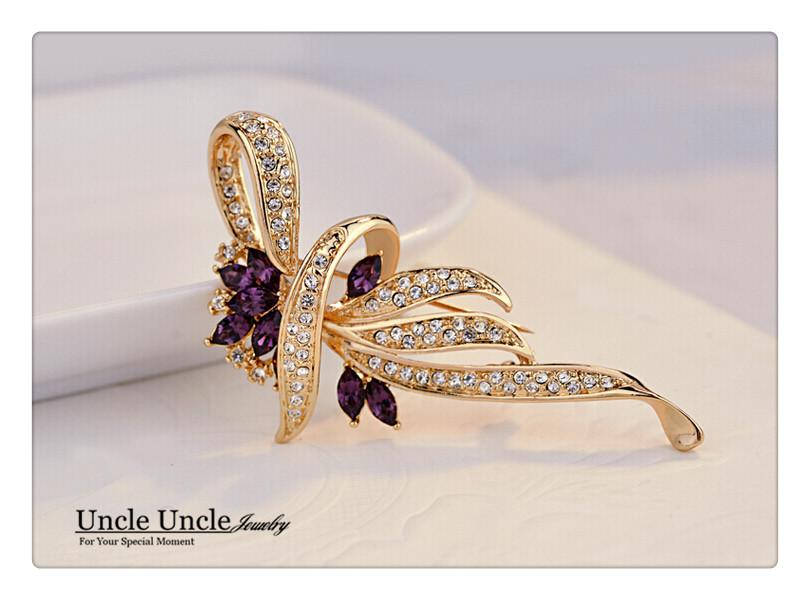 Rose Gold Color Crystal Rhinestone Setting Classic Kaffir Lily Design Flower Lady Brooch Purple/Blue Wholesale