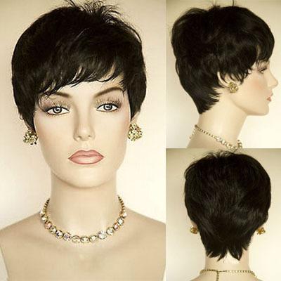Fashion Short Black African American Wig For Black Women Pixie Cut ...
