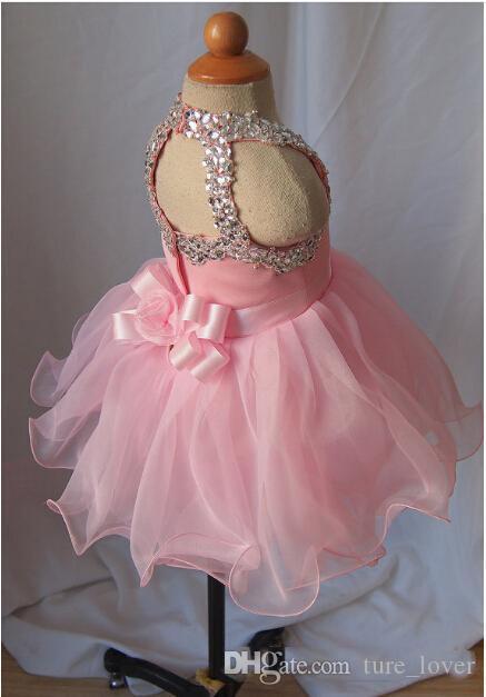 Kleinkind Pageant Kleider für Mädchen 2016 Rosa Kristall Perlen Open Back Cupcake Pageant Kleider Tüll Ballkleid mit Sash Bogen Kinder Prom Kleid