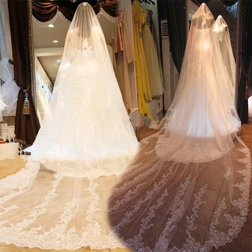 حار مذهلة الأبيض العاج الرباط زين الترتر طبقة واحدة الزفاف الحجاب الزفاف كاتدرائية طول طويل واسعة بدون مشط كوف الوجه مذهلة