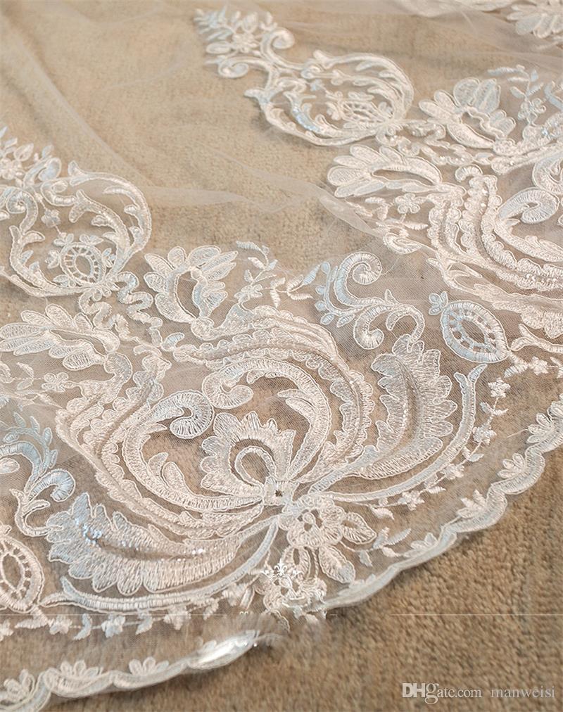 Noble lange Brautschleierkathedrale Länge Spitze Applique 3M Hochzeitsschleier Elfenbein oder weißer Schleier mit freiem Kamm