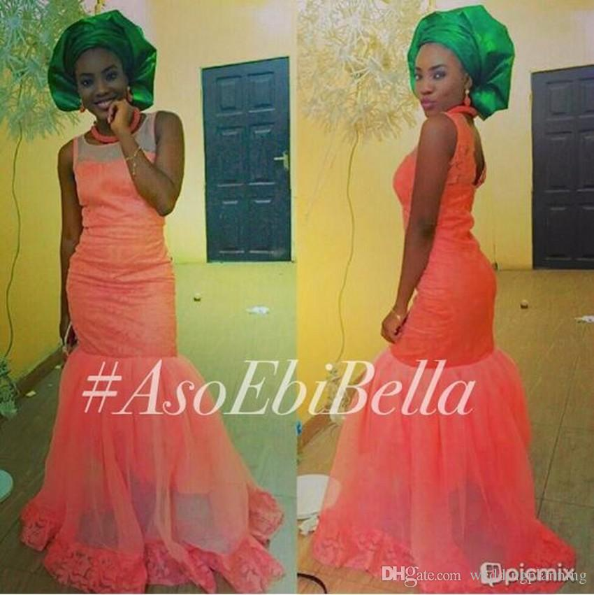 Aso Ebi Styles Mermaid Evening Dresses Sleeveless Nigerian Lace Evening Gowns Floor Length Formal Party Gowns