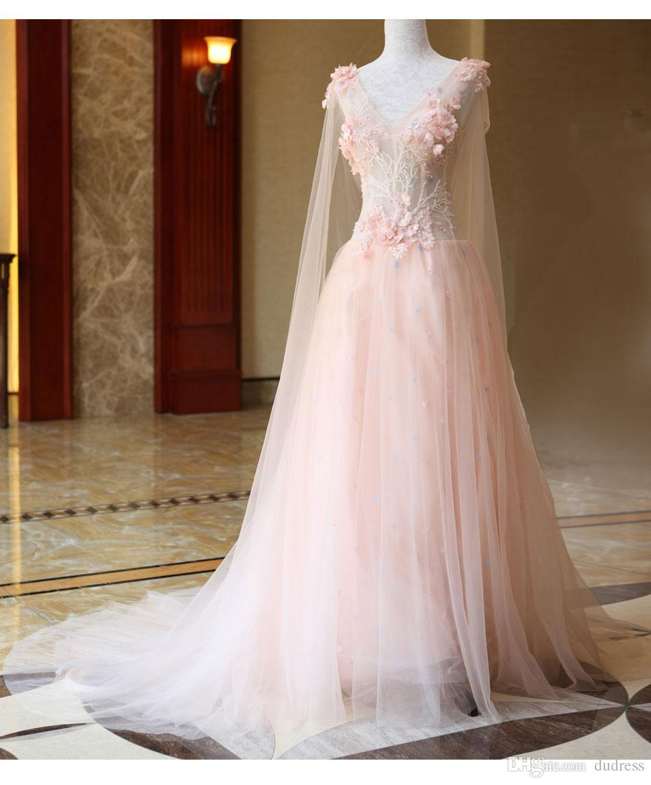 Discount Fairy Pink Garden Crystals Lace Flowers Wedding Dresses ...