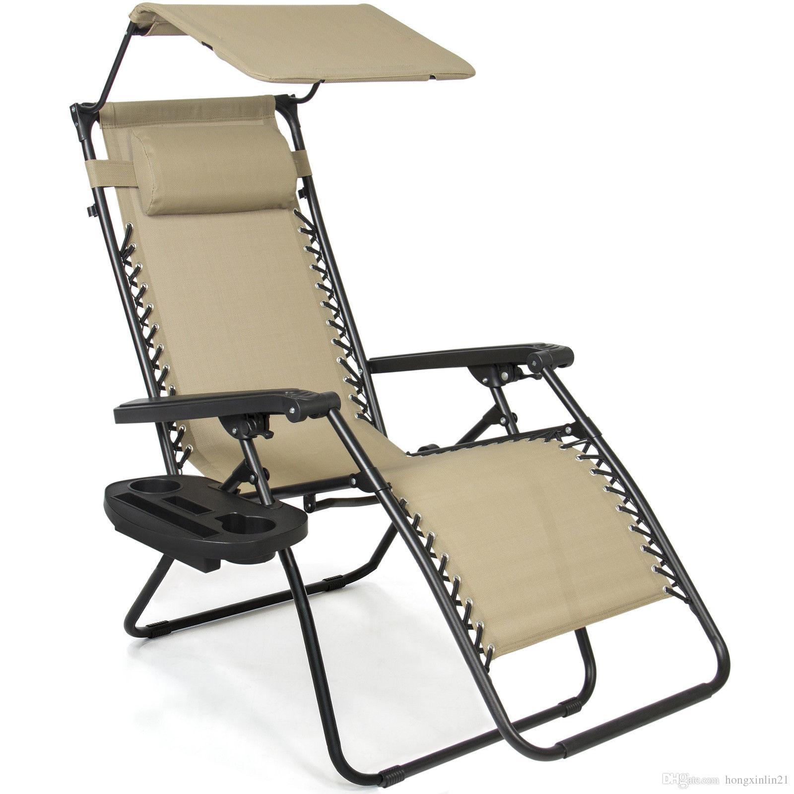 2019 Folding Zero Gravity Recliner Lounge Chair W Canopy