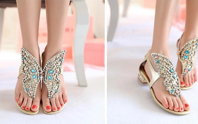 Size 34 To 39 Golden White Flat Heels Butterfly Shaped Rhinestone Cowskin Shoes Beach Wedding Sandal Bridal Girls