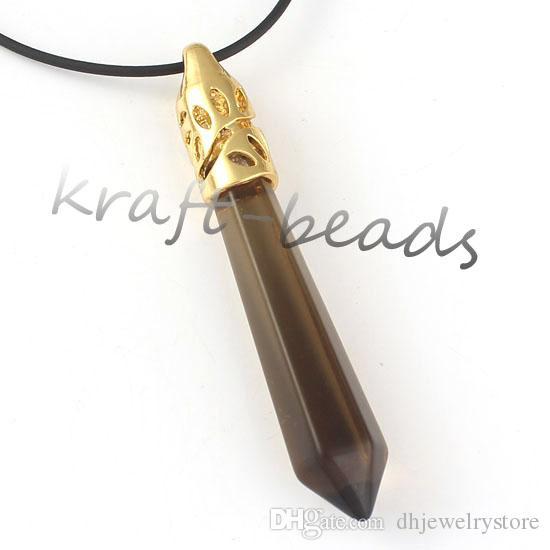 Venta al por mayor 10 unids moda venta caliente chapado en oro ReiKi cuarzo piedra hexágono prisma forma péndulo colgante de la joyería