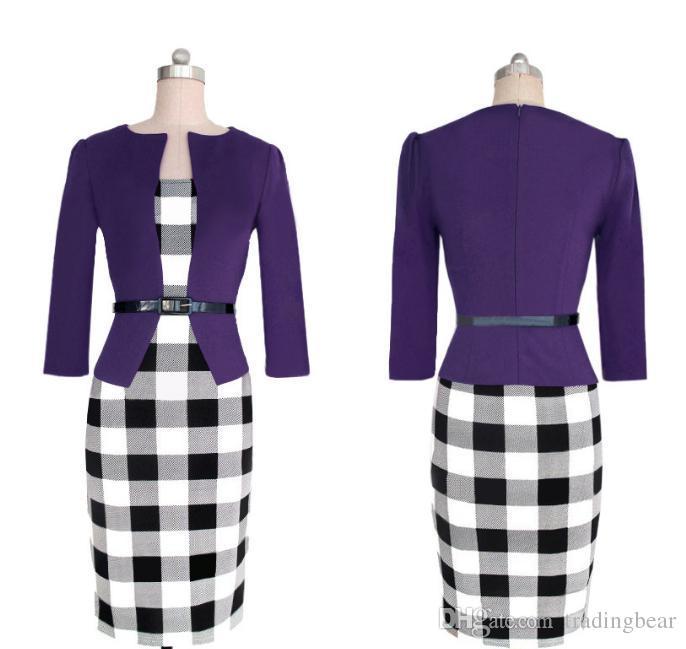 I più nuovi disegno del plaid Fasle due pezzi con cintura donne lavorano Dress Plus Size lunghezza del ginocchio del manicotto lungo ufficio vestiti dalle signore Fino a 2XL