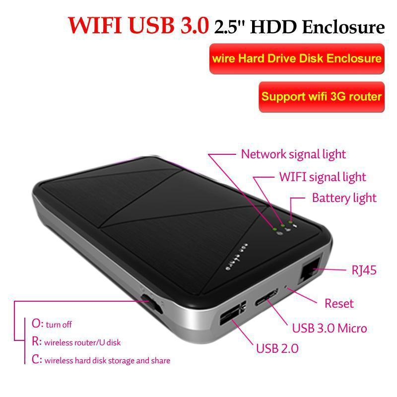 wireless wifi usb 3 0 2 5 39 39 hdd enclosure wire external sata hard drive disk enclosure support. Black Bedroom Furniture Sets. Home Design Ideas