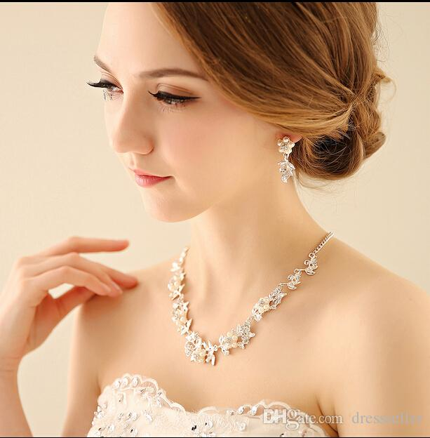 2015 Bridal jewelry wedding necklaces set bridsmaid necklace+earrings wedding jewellery pieces evening dress accessories