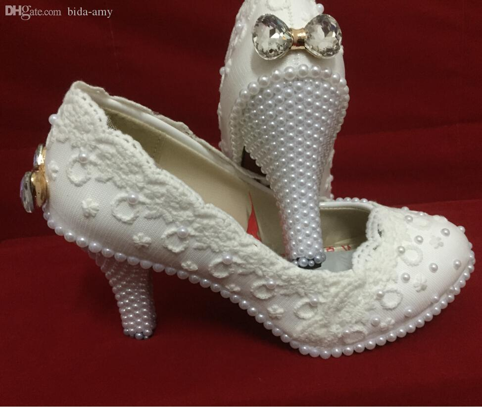 Wholesale Elegant White Lace Flower Wedding Shoes Pearl Bow High