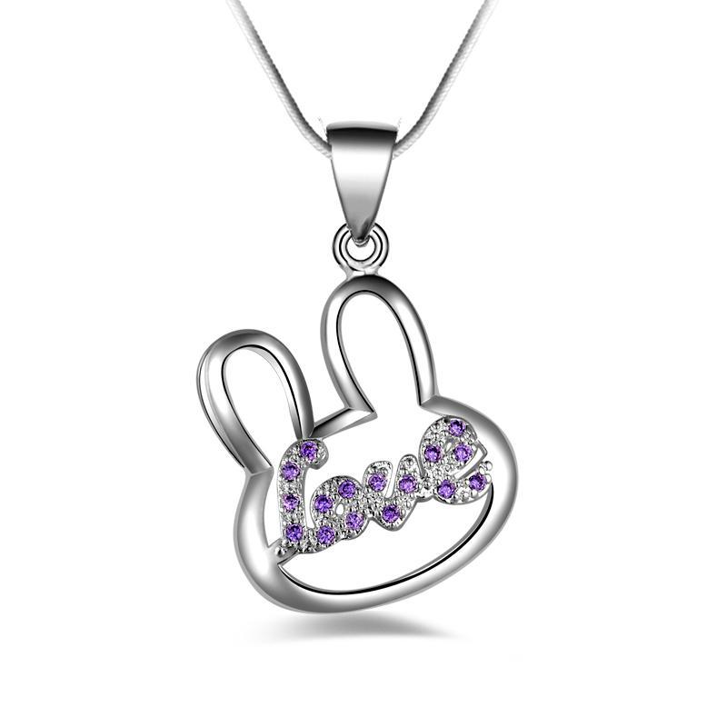 Бесплатная доставка мода высокое качество 925 серебряный кролик с фиолетовым бриллиантом ювелирные изделия 925 Серебряное ожерелье День Святого Валентина праздничные подарки горячие 1678