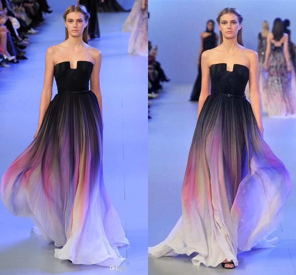 2015 Elie Saab Ombre Pleats Belt Backless Gradient Prom Dresses Real ...