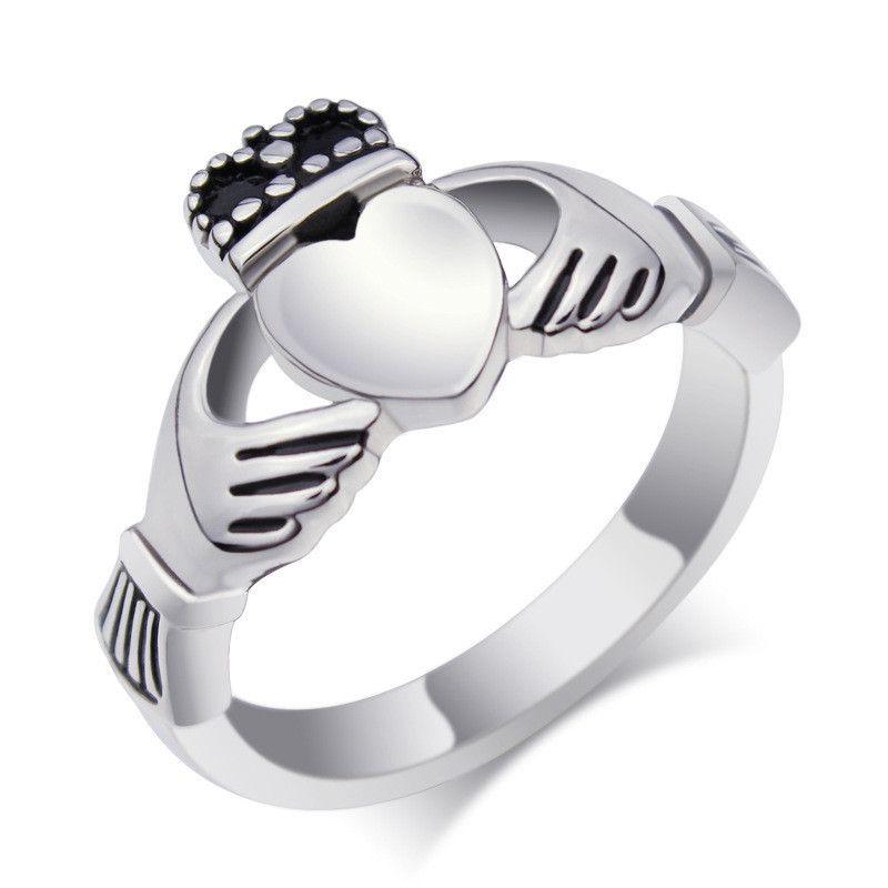 Traditional Irish Claddagh Rings Titanium Steel Wedding Rings
