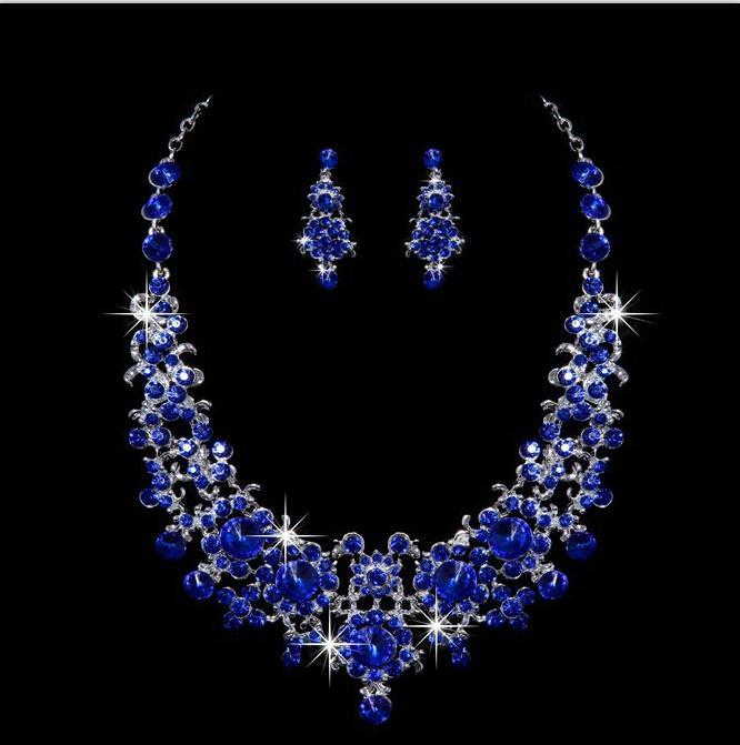 2017 Blue Artificial Bridal Jewelry Sets Bridal Jewelry Diamond