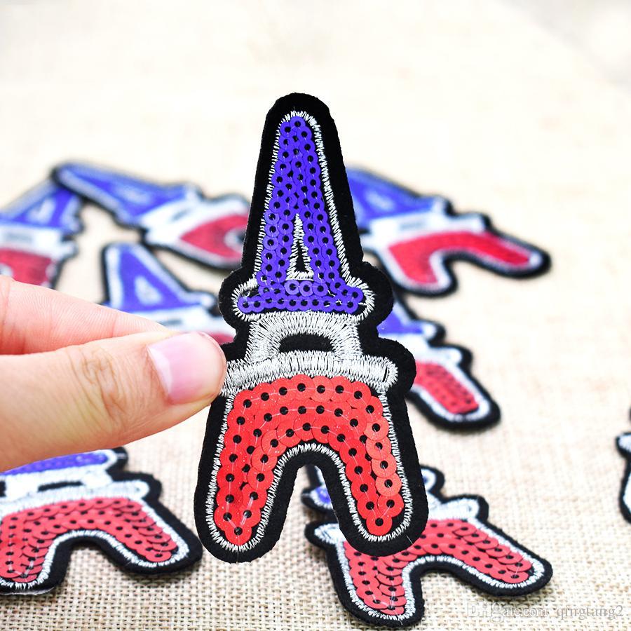 10 STÜCKE Pailletten Eiffelturm Patch für Kleidung Taschen Eisen auf Stickerei Patches für Kleid Jeans DIY Nähen auf Stickerei Abzeichen Pailletten