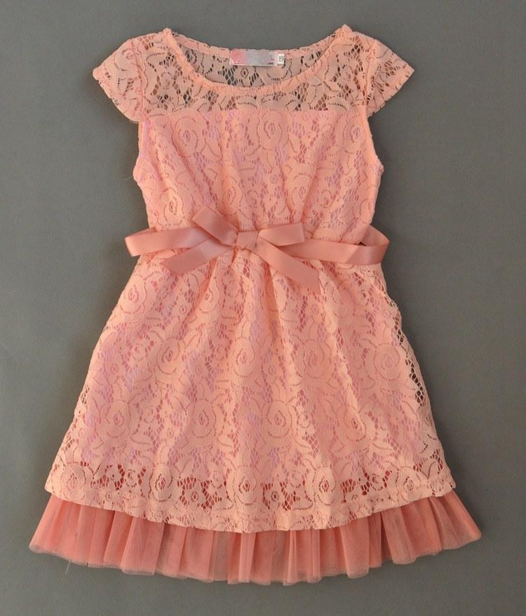 spring summer girls full lace bow dresses Princess short sleeved lace tutu dress party flower bow lace tutu Sequins dress pink & beige color