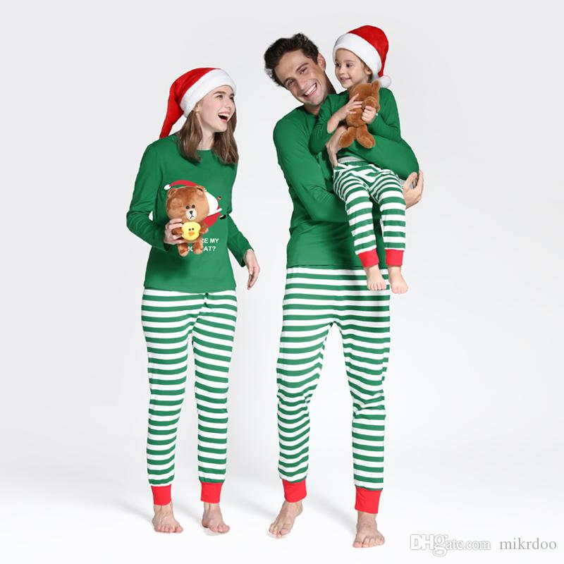 6c5f2bb740 Family Matching Clothes Sets Christmas Santa Family Pajamas Home Wear  Striped Cotton Father And Son Mom Sleeping Wear Clothing Outfits Matching  Sibling ...