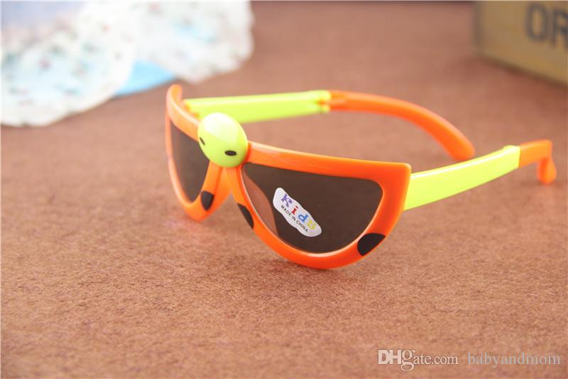 mix Sweet Kids sunglasses Cartoons Fold the beatles ladybird Baby children's UV400 Sun glasses