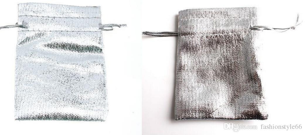 Borse all'ingrosso-/ argento o oro placcato sacchetti di regalo satinato con borse con coulisse regalo borse regalo sacchetti7 * 9 cm