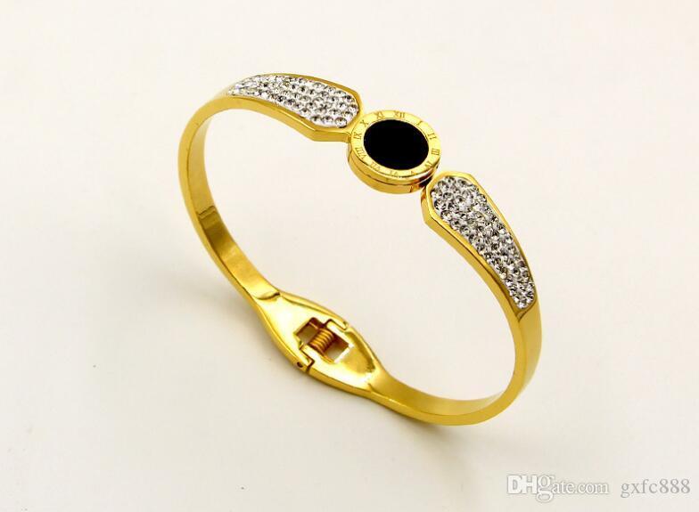 Moda bilaterale pietra di fango pieno di trapano nero numeri romani braccialetto femminile coreano in acciaio al titanio primavera gioielli braccialetto aperto