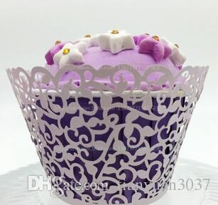 Лазерная резка Белый цветок Vine кекс Упаковщики Обертывания Свадебный день рождения Tea Party украшения Бесплатная доставка TY897