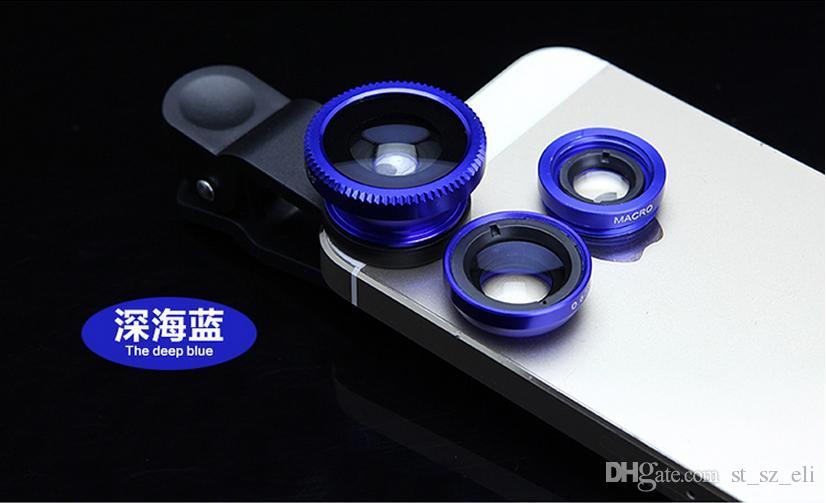 2015 Best-seller Universal 3in1 Clip-On lente ojo de pez granangular macro lente móvil para iPhone 4 5 Samsung Galaxy S4 S5 todos los teléfonos ojo de pez