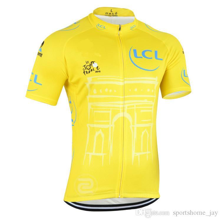 Hot 2015 Tour de France Champion Gula Cykling Tröjor Ropa Ciclismo / Kortärmad Cykling Jersey / Mountain Racing Bike Cykling Kläder