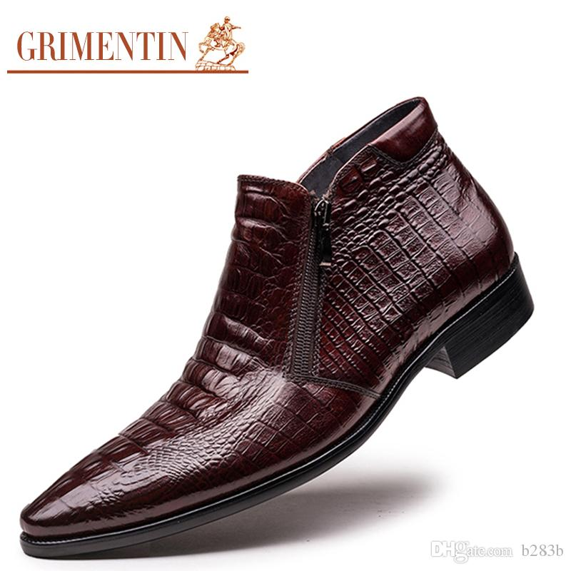 266f6012ee GRIMENTIN brand men boots genuine leather mens ankle boots crocodile style  comfortable luxury men dress shoes for wedding size:38-44 2-04