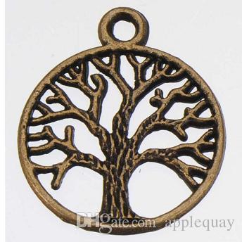 encantos del árbol de metal plantas de bronce de oro de plata de época de la vida de los árboles nuevos proveedores de bricolaje accesorios de la joyería de moda para la joyería 24 * 20mm