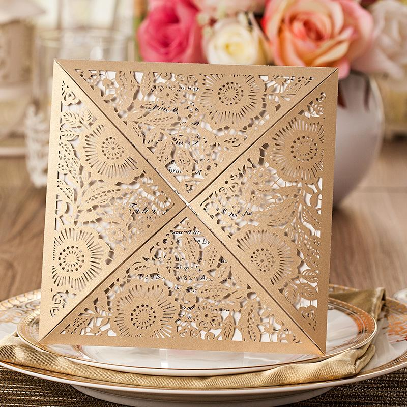 Gold Wedding Invitations Hollow Lace Elegant Laser Cut Wedding ...