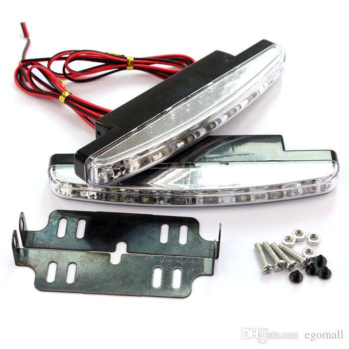 Spedizione gratuita 8 LED Universal Car Light DRL Daytime Running Head Lampada Super Colore bianco