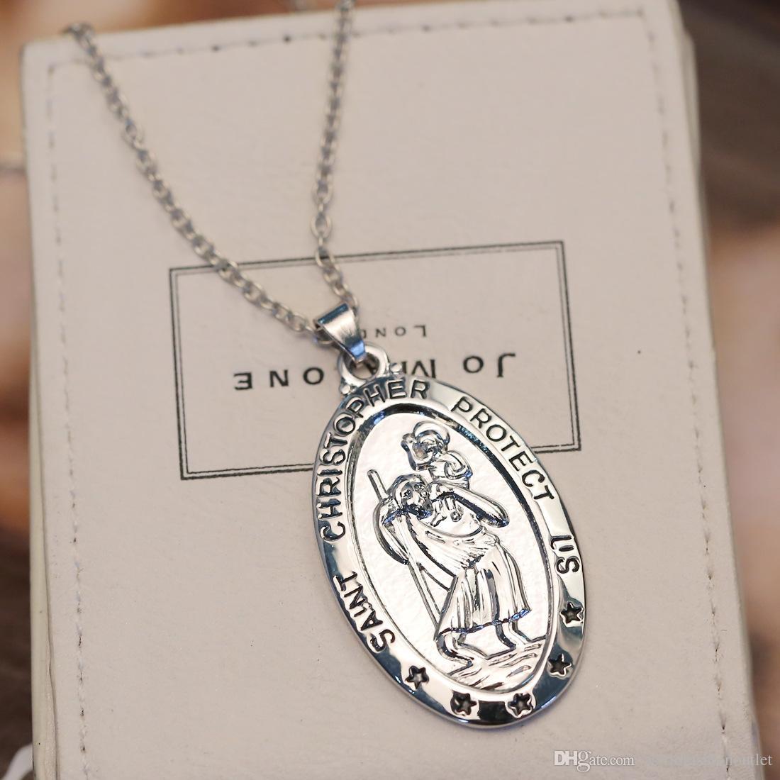 Fashion Jewelry Necklaces Pendants Charm Women Pendant Choker Chunky Statement Bib Chain Necklace St CHRISTOPHER Necklace Silver Saint Chain